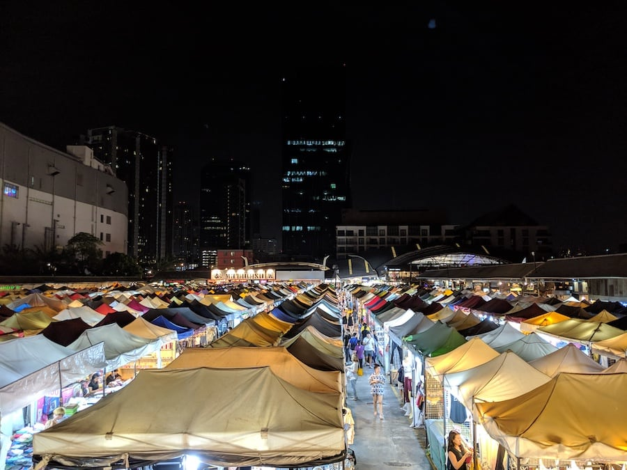 ratchada night market tents