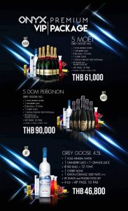 onyx premium champagne packages