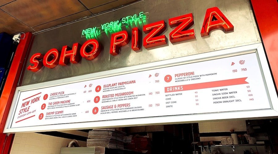soho pizza bangkok menu