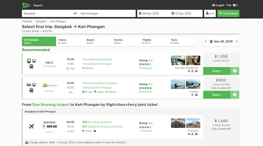 12go asia website screenshot for bangkok to Koh Phangan