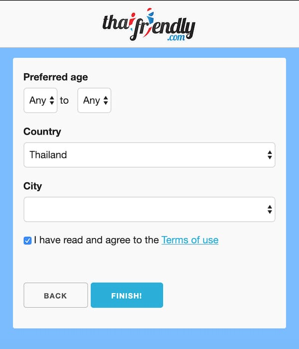 choose preferences on thaifriendly.com