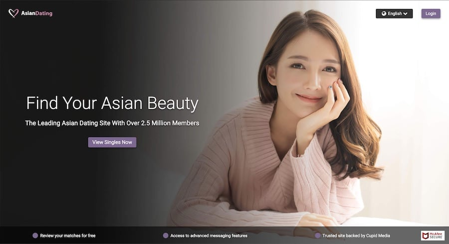 asiandating site homepage screenshot
