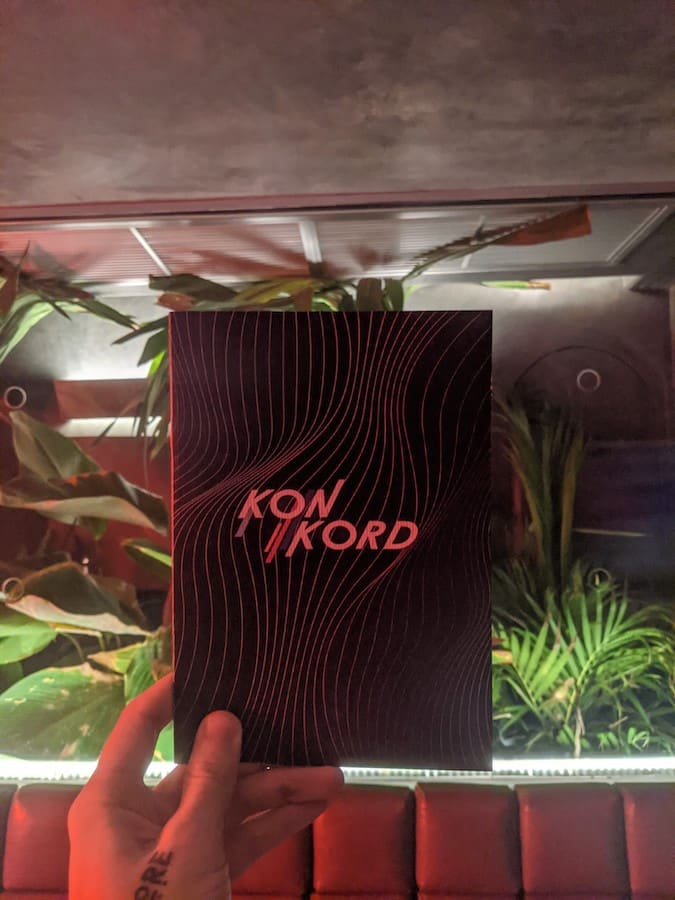 menu of konkord cocktail bar