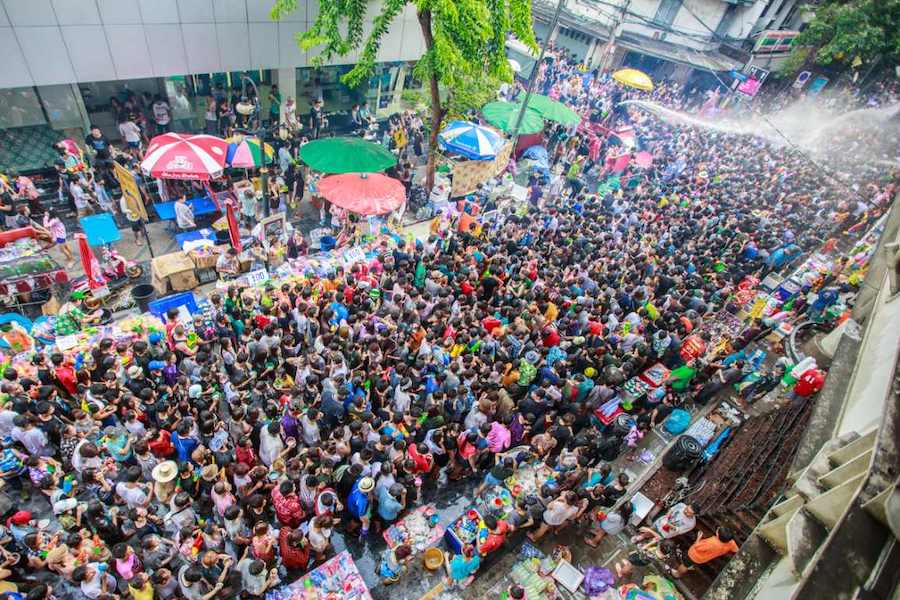 Songkran celerbation in Silom Bangkok