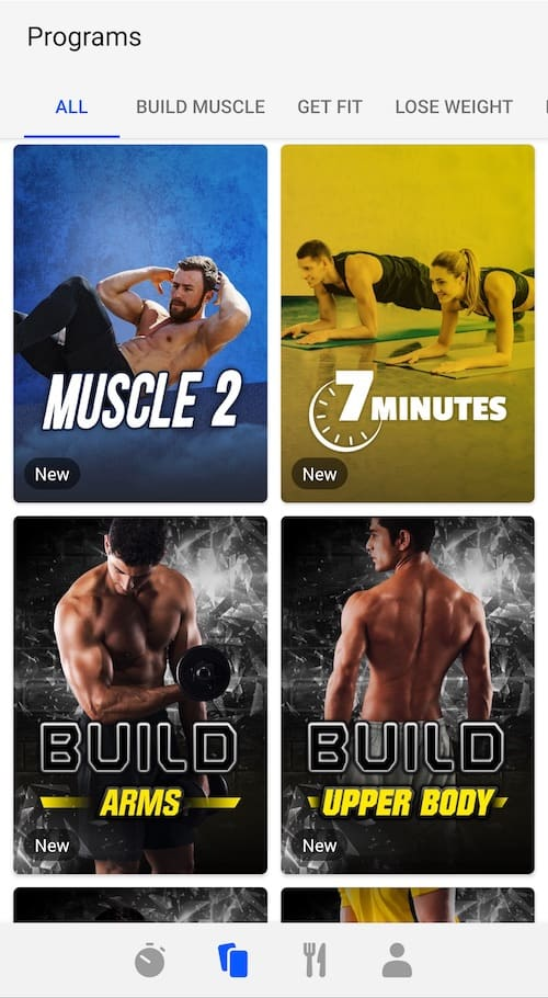 workout programs on fizzup app