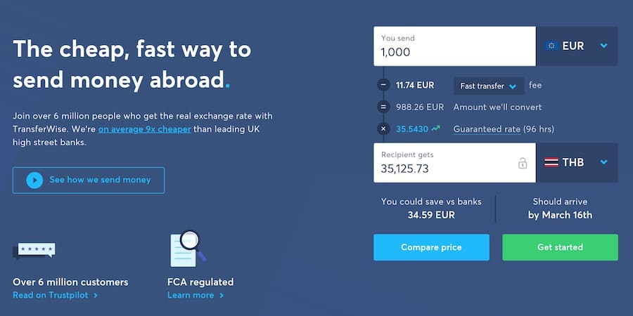 transferwise fee calculator for transfers