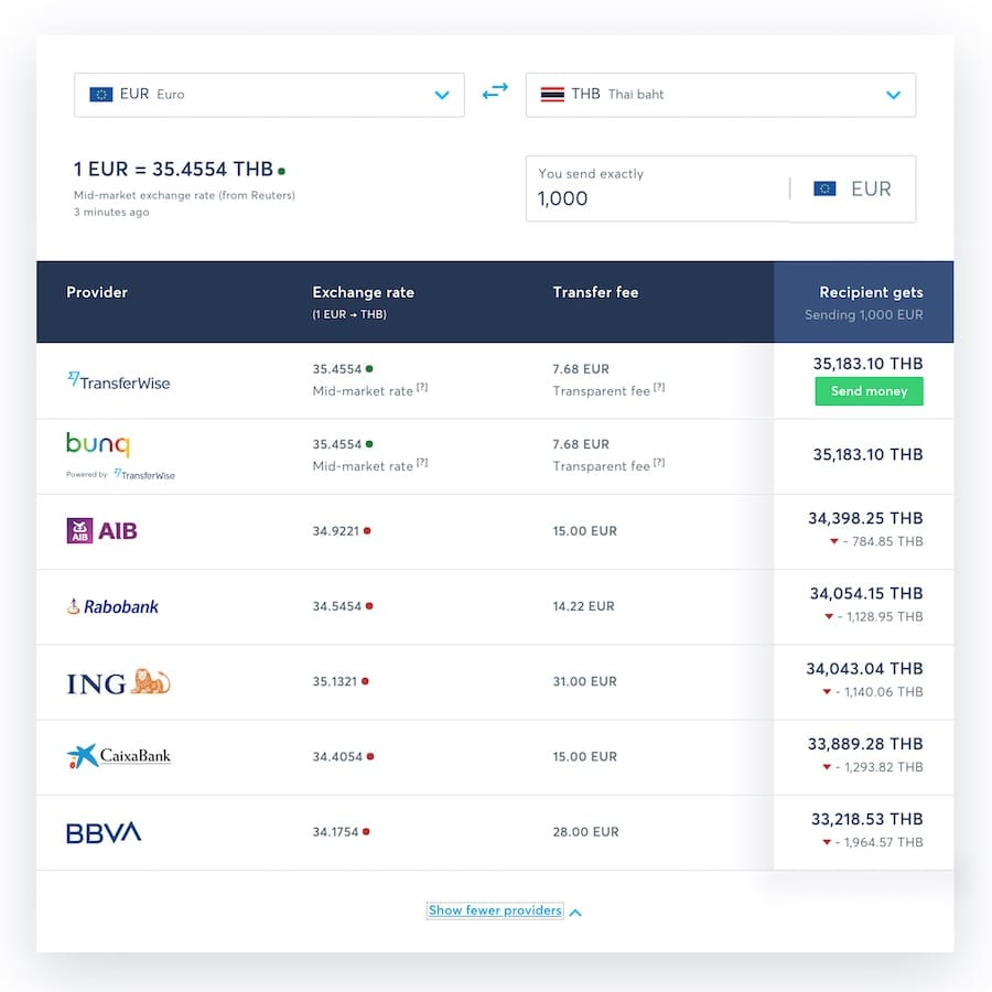 transfer fee of transferwise for euro to thai baht