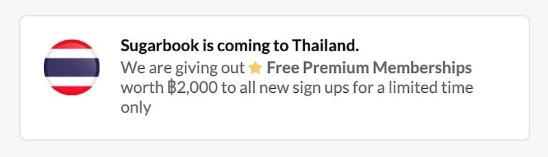 sugarbook special offer in Thailand
