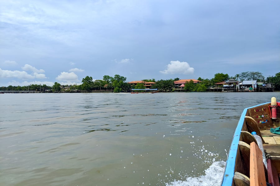 crossing the chao phraya river to go to Bang Kachao