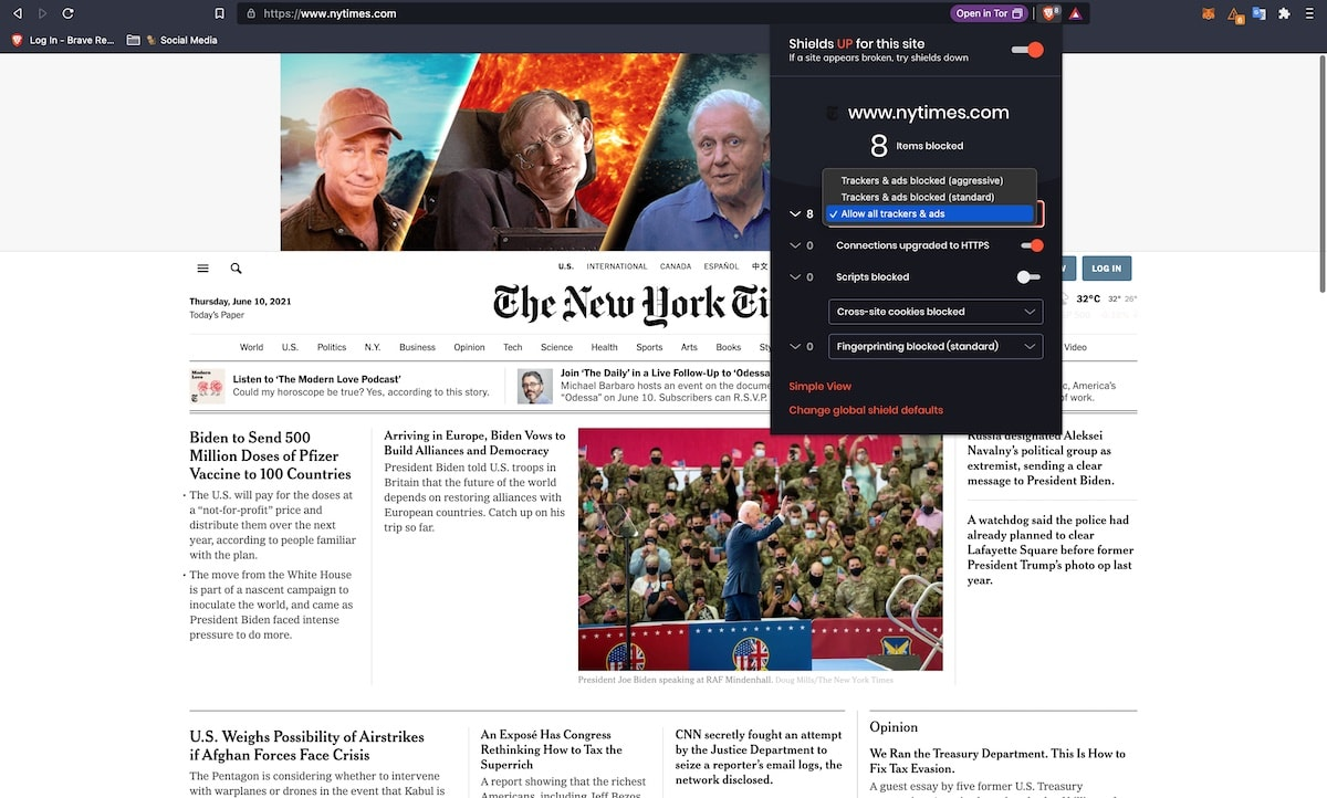 the new york time website with brave shield allowing ads
