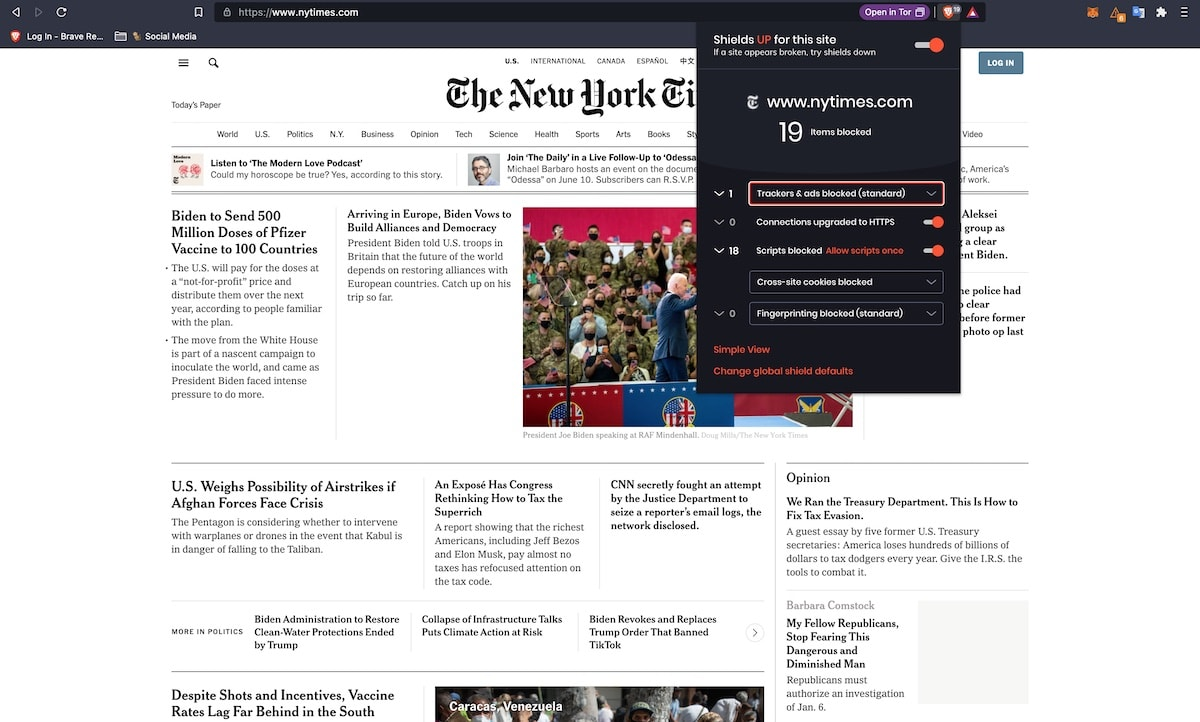 the new york time website with brave shield blocking ads