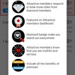 Seeking Arrangement app screenshot with Diamond membership benefits